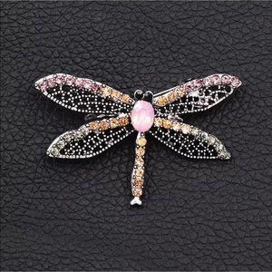 Betsey Johnson crystal gems dragonfly pin NWT